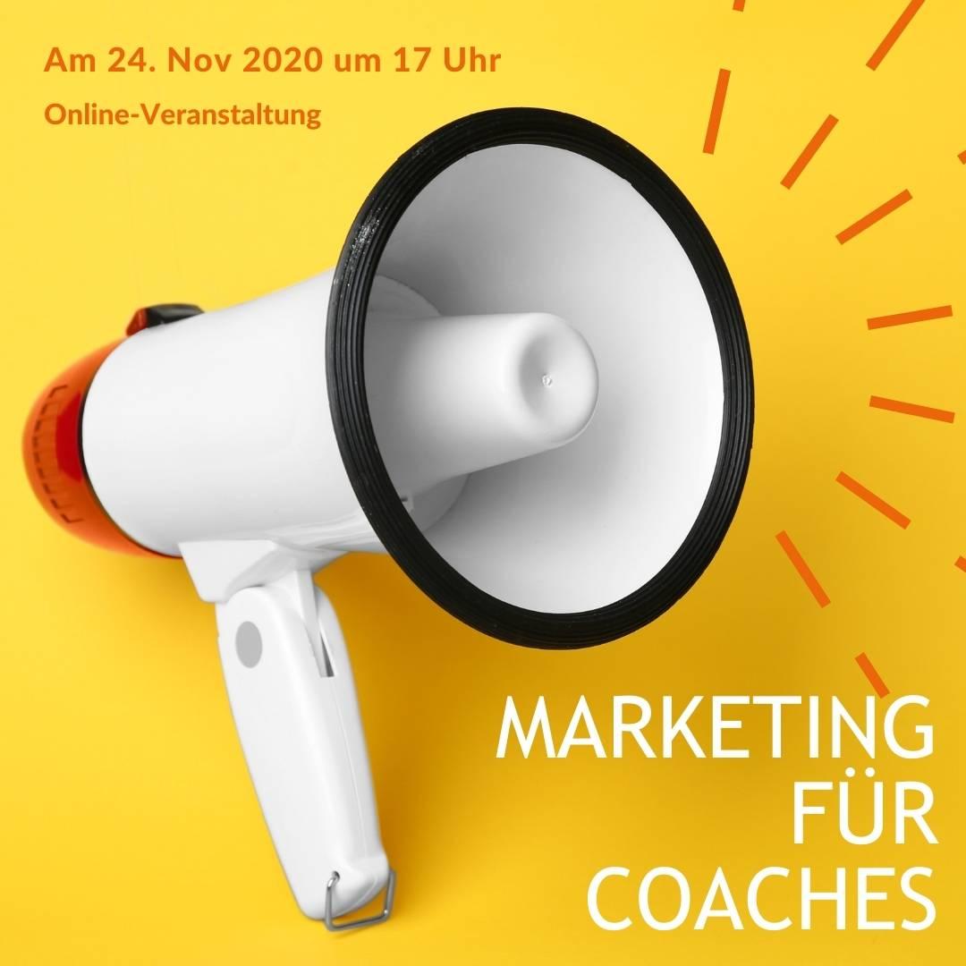 """Ein Megafon mit dem Hinweis auf die Veranstaltung """"Marketing für Coaches"""""""